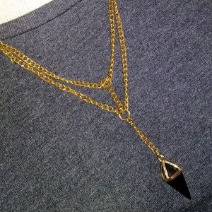 black crystal layered goldtone sexy necklace 3/20$